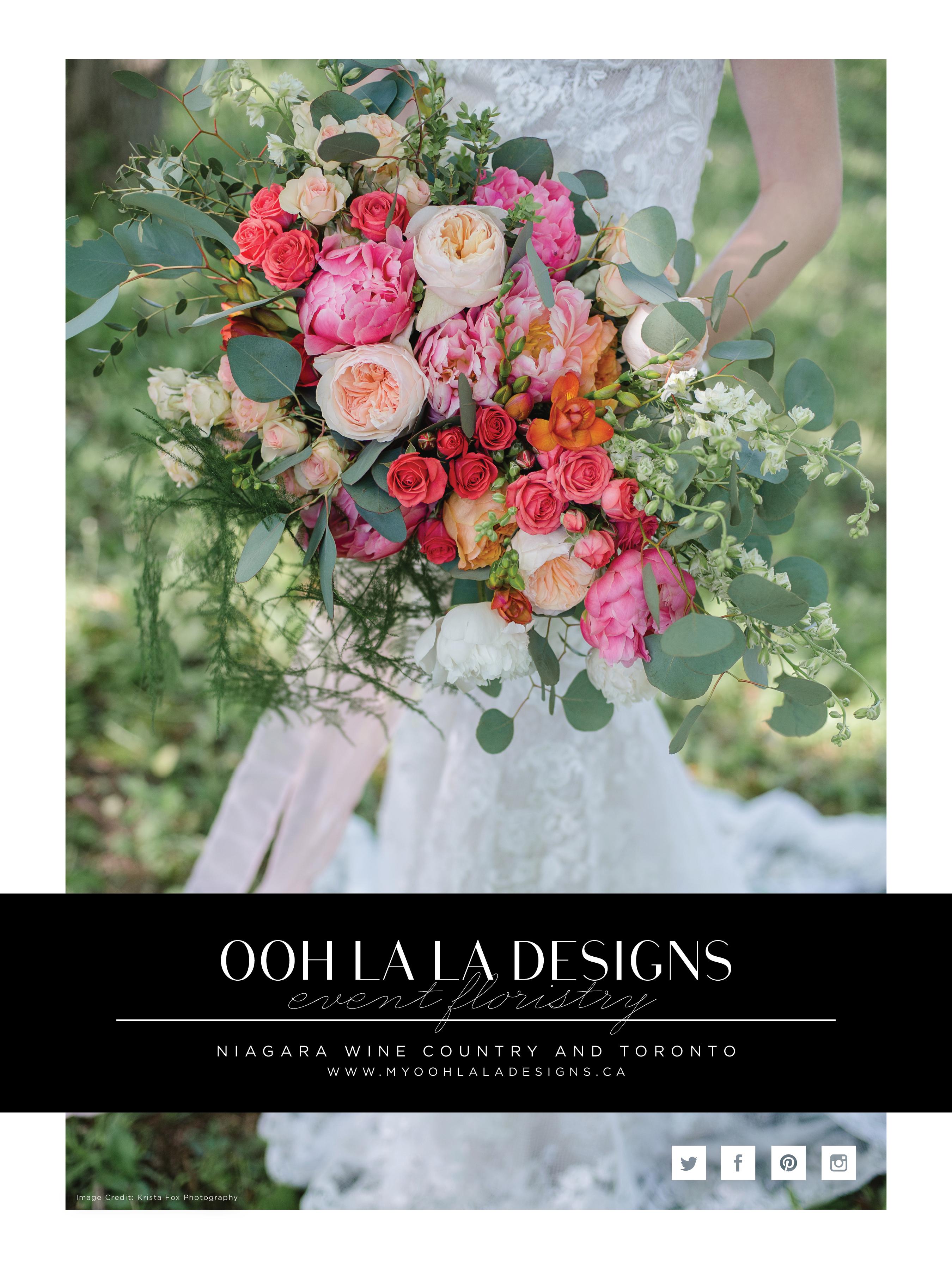 Ooh La La Designs Full Page Wedluxe Ad_Niagara Wedding Florist_Toronto Wedding Florist_Krista Fox Photography